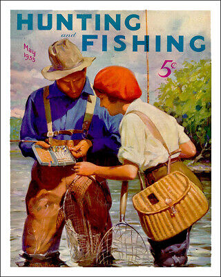 Vintage 1935 Hunting and Fishing magazine steel sign reproduction cabin decor (Fishing Decor)