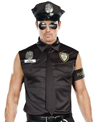 Officer Dirty Cop Costume (Dreamgirl Mens Black Dirty Cop Officer Ed Banger)
