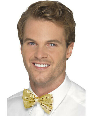 Gold Sequin Bowtie Bow Tie for Clown or Festive Costume Accessory - Clown Bow