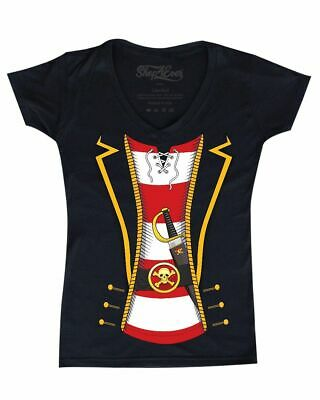 Pirate Buccaneer Striped Skull Costume Women's V-Neck T-shirt Jolly Roger Tee
