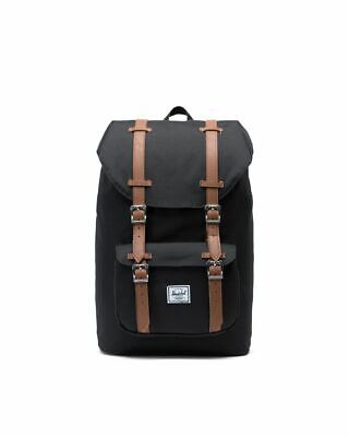 Herschel Little America Laptop Backpack, Black/Tan Synthetic Leather, Mid-Volume