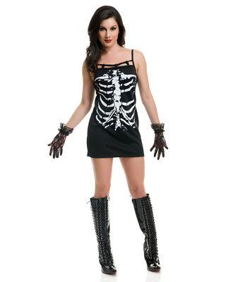 Womens Spooky Black and White Skeleton Printed Dress (Womens Skeleton Costume)