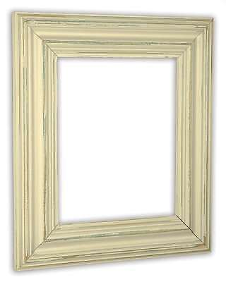 - Wide Distressed Ivory Picture Frame - Solid Wood
