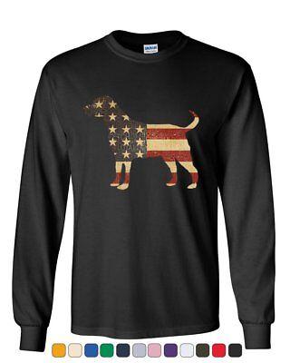 American Dog Long Sleeve T-Shirt Stars and Stripes Retriever Bulldog Pitbull Tee Dog Long Sleeve Tee