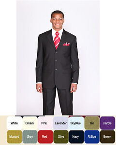 New-Mens-Basic-Suit-Single-Breasted-3-Button-14-Unique-Colors-Size-38R-60L