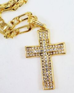 ICED-OUT-CZ-GOLD-Cross-BLING-HIP-HOP-PENDANT-24CHAIN-JEWELRY-NECKLACE