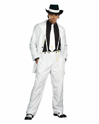 White Pin Stripe Zoot Suit Riot Adult Men's Costume Gangster Mobster 20's XXL (White Zoot Suit)