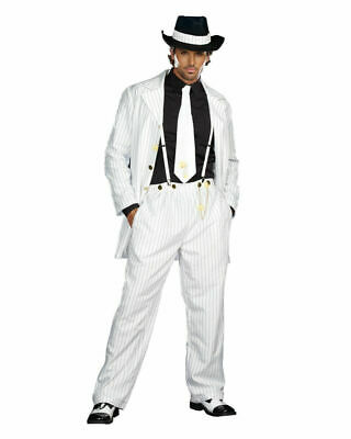 White Zoot Suit Costume (White Pin Stripe Zoot Suit Riot Adult Men's Costume Gangster Mobster 20's)
