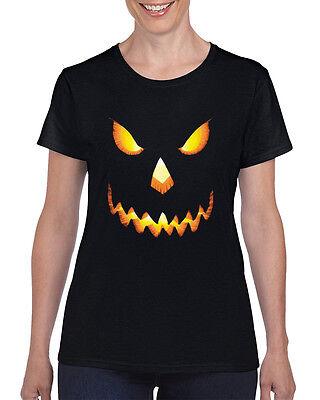 Halloween Creepy Women T-Shirt Pumpkin Scary Costume Trick  Bone Spooky Skeleton
