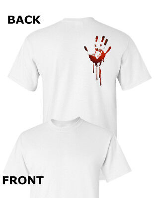 Bloody Hand T-Shirt Easy Halloween Costume Spooky Scary Cotton Tee Shirt - Scary Easy Costumes