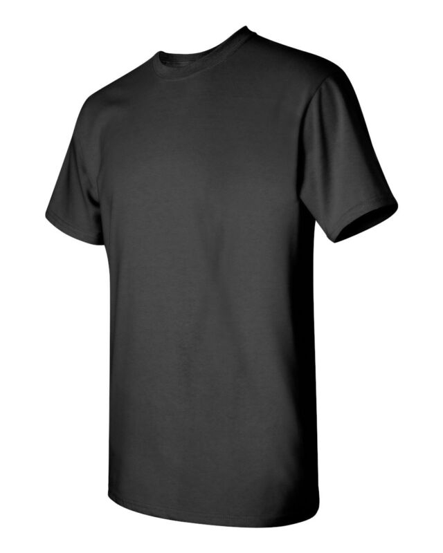 6 BLACK GILDAN T-Shirts Cotton Heavyweight S M L XL 2XL 3XL 4XL 5XL BULK LOT