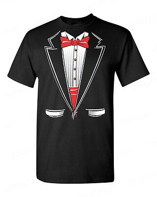 Classic Tuxedo Costume T-Shirt Funny Wedding Prom Suit Red Bowtie Novelty Tees (Tshirt Costume)