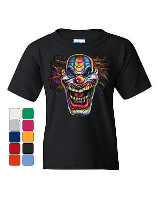 Mad Evil Clown Face Youth T-Shirt Scary Horror Insane Joker Tee - Scary Clown Face