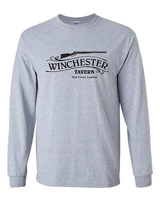 234 Winchester Tavern Long Sleeve shirt zombie movie lover funny new -