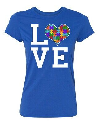 Autism Awareness Love Heart Jigsaw Puzzle (Colored) Women's T-shirt Autism tee