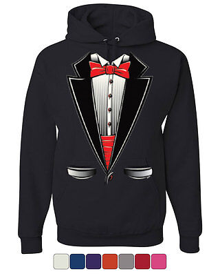 (Funny Tuxedo Bow Tie Hoodie Tux Wedding Party Sweatshirt)