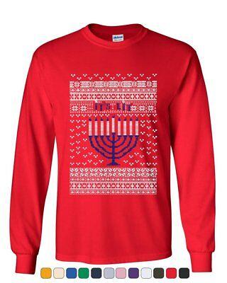 It's Lit Ugly Sweater Long Sleeve T-Shirt Menorah Hanukkah Jewish Holiday Tee - Hanukkah Ugly Sweater