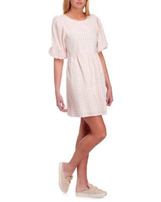 June & Hudson Dress Open Back A Line 3/4 Sleeve Lined Peach Plaid Stretch NWT$89