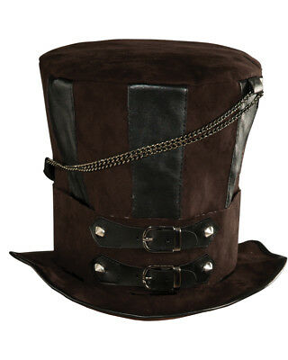 Mens Costume Hats (Deluxe Mens Womens Steampunk Brown Costume Chains Buckle Faux Leather Top)