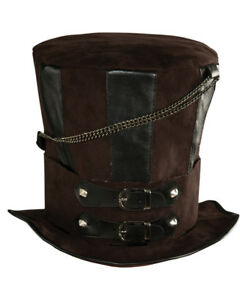Deluxe Mens Womens Steampunk Brown Costume Chains Buckle Faux Leather Top  Hat c2b8deb09f7