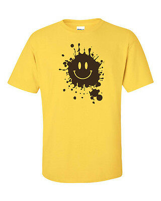 - MUD Splatter Smiley Face Smile Forrest Gump Movie Men's Tee Shirt 661