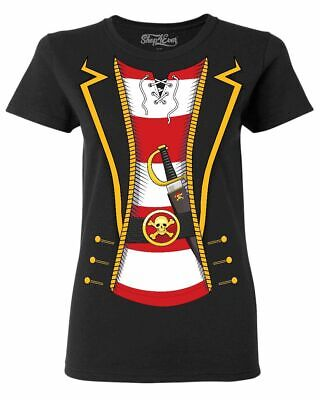 Womens Pirate T Shirt (Pirate Buccaneer Striped Skull Costume Women's T-Shirt Jolly Roger)