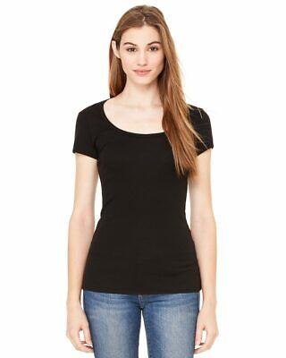 Bella + Canvas Women's Short Sleeve Sheer Mini Rib Scoopneck Tee T-Shirt 8703 - Sheer Rib Tee