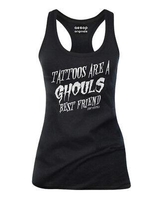 WOMENS Aesop Originals TATTOOS GHOULS BEST FRIEND Tank Top BLACK
