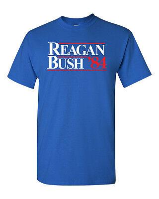 Reagan Bush 84 Ronald Political Election Retro Republican Men's Tee Shirt (Reagan Republican)