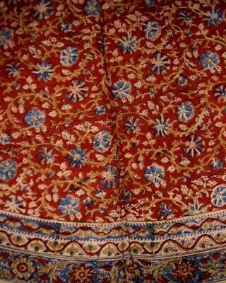 "Veggie Dye Block Print Round Cotton Tablecloth 72"" Red"
