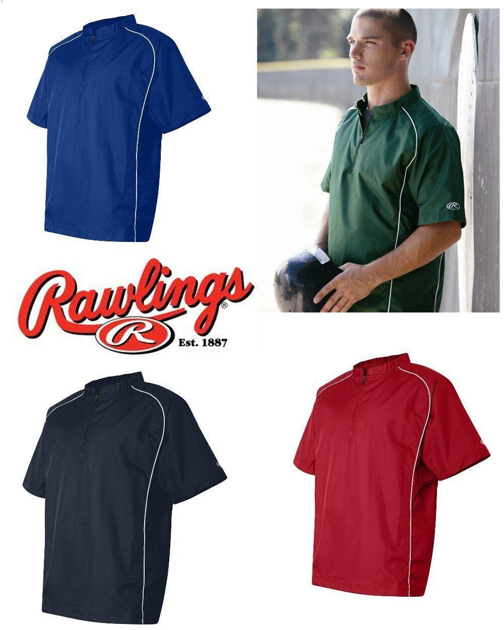 Rawlings Mens S-3XL Short Sleeve 1/4 Zip Baseball Pullover Wind ...