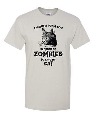 Zombie Cat Funny Halloween Humor Dead Walker Tee Adult Men's Graphic T-Shirt ](Funny Halloween Cats)