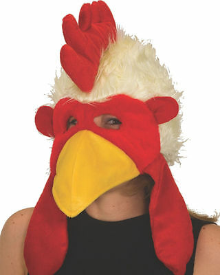 ADULT FURRY FUNNY CHICKEN HAT ROOSTER COCK BIRD FARM ANIMAL CUTE COSTUME MASK - Chicken Hat