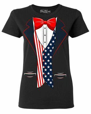 USA Flag Tuxedo Women's T-Shirt American 4th of July Patriot Costume Shirts - Women Tuxedo Costume