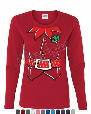 Elf Shirt Women's Long Sleeve Tee Funny Christmas Xmas New Year - Women Elves