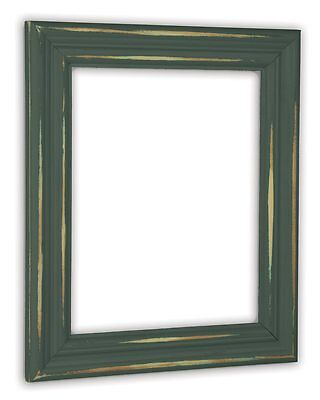 Distressed Hunt Club Green Picture Frame - Solid Wood Green Distressed Frame
