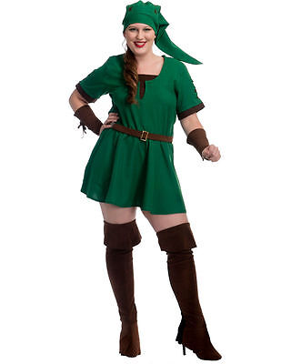 Women's Fantasy Game Green Elf Warrior Princess Costume Adult Halloween Size M