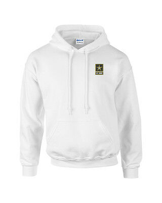 Army Logo Hooded Sweatshirt - United States Army Logo Embroidered White Pullover Hooded Sweatshirt New
