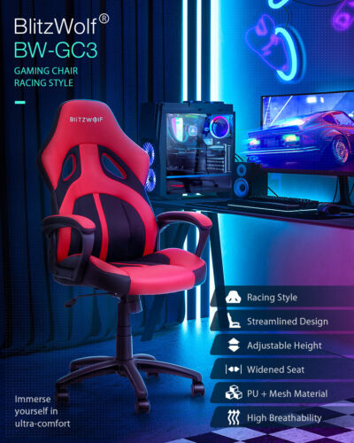 BlitzWolf BW-GC3 Racing Style Gaming Adjustable Chair- Gamers/Youtubers/Office