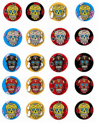 Day of the Dead 20 sugar skull Halloween stickers scrapbooking 1.5