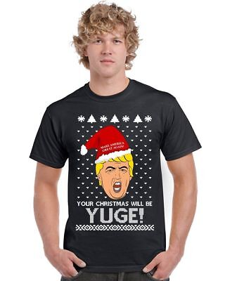 Funny TRUMP Ugly Christmas sweater BLACK Men's T-Shirt ugly - Funny Ugly Christmas Sweaters For Men