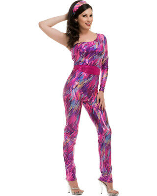 Adult's Womens Fuchsia Yazzercise 80s Dance Exercise Trend Costume