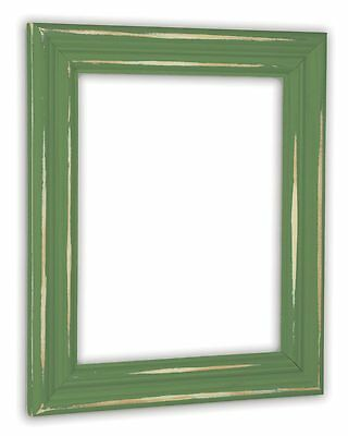 Distressed Leafy Green Picture Frame - Solid Wood Green Distressed Frame