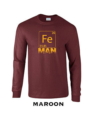 288 Fe Man Long Sleeve Iron funny chemistry cool college costume super hero - Cool Superheroes Costumes