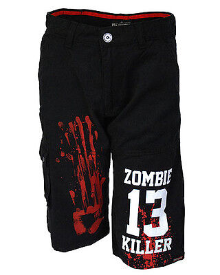 Darkside Men's Knee Length 'Zombie Killer 13' Cargo Shorts Alt Street Wear