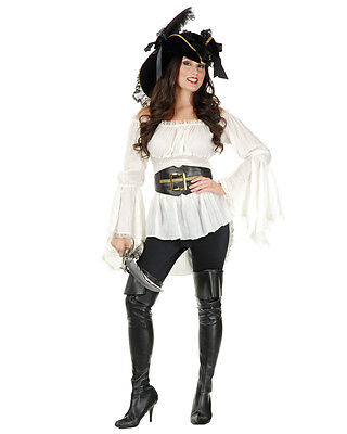 LADY PIRATE VIXEN BLOUSE PEASANT RENAISSANCE WENCH COSTUME SHIRT ADULT WHITE](Ladies Pirate Blouse)