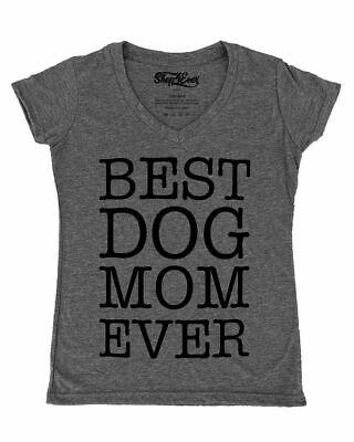 Best Dog Mom Ever Blk Women's V-Neck T-shirt Fur Mama Rescue Mom Dog Lover (Best Black V Neck T Shirt)