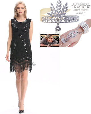 NEW K307A Black 1920s Roaring 20s Flapper Costume Sequins Outfit Fancy Dress