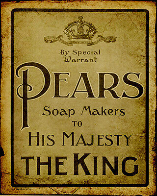 Pears Soap The King - VINTAGE ADVERTISING ENAMEL METAL TIN SIGN WALL PLAQUE