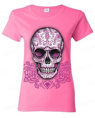 Sugar Skull Cross Pink Roses Women's T-Shirt Day of the Dead Los Muertos Shirts](Day Of The Dead Women)